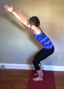 Utkatasana with butt tuck
