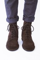 LACE UP BOOTS - BROGUED WINGTIP IN DARK BROWN SUEDE