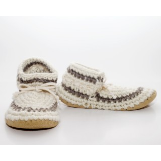 Padraig Women's Slipper - Cream with Stripe